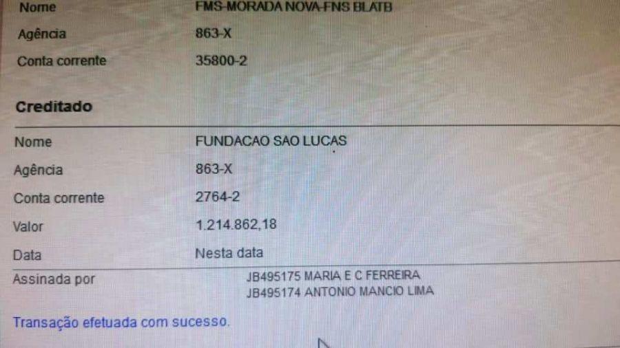 O governo municipal de Morada Nova transferiu R$ 1.214.862,18 destinados ao combate à covid-19.