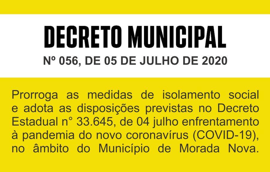 Decreto nº 056, de 05 de julho de 2020