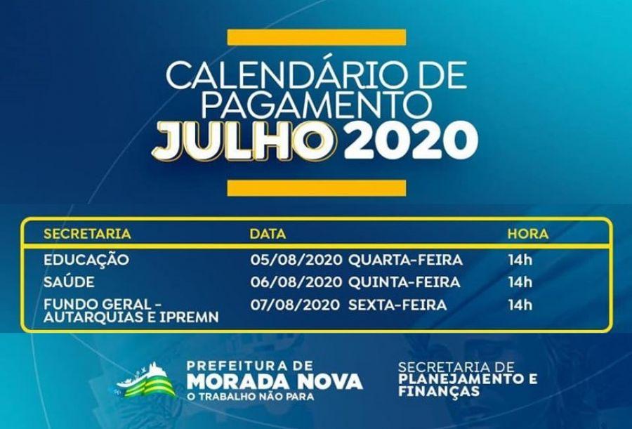 Calendário de pagamento julho 2020 - Morada Nova