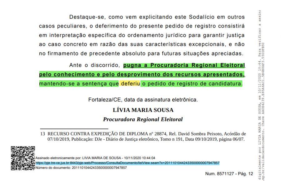 Procuradora Regional Eleitoral do Estado do Ceará mantém o DEFERIMENTO da candidatura de WANDERLEY NOGUEIRA no TRE
